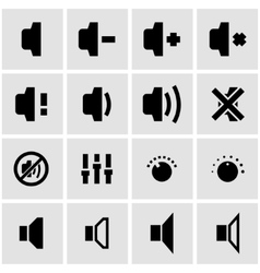 black speaker icon set vector image