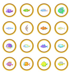 different fish icons circle vector image