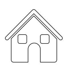 monochrome contour of house two floors in white vector image vector image