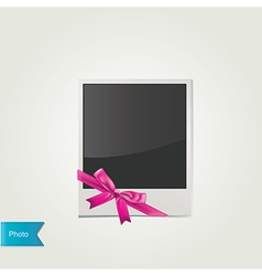 Polaroid photo with cute pink bow isolated vector image