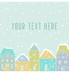 Winter houses card template vector image