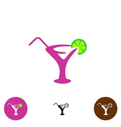 Cocktail glass logo vector image