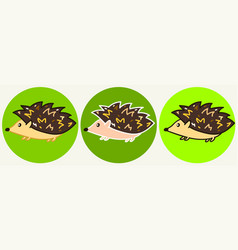 cute cartoon hedgehog icons vector image
