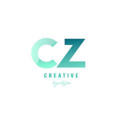 Green gradient pastel modern cz c z alphabet vector