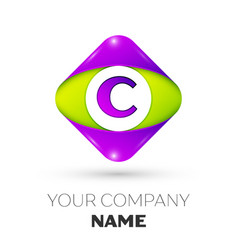 letter c logo symbol in colorful rhombus vector image