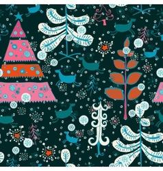 Pattern with cute Santa deer doodle snowman vector image vector image