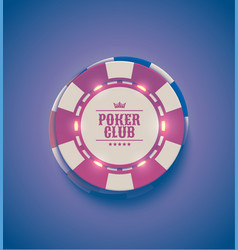 red white casino poker chips with luminous vector image vector image