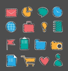 Set of business office flat hand-drawn icons vector image