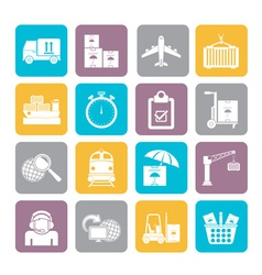 Silhouette Cargo and logistic icons vector image vector image