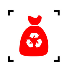 trash bag icon red icon inside black vector image