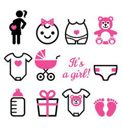 baby girl shower icons set pregnant woman vector image vector image