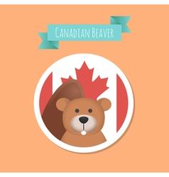 Canadian Cute Beaver Sticker vector image