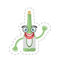 cartoon bottle drink party cut line vector image