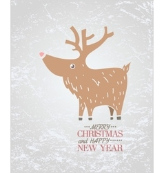 Cute brown deer on ice New Year Christmas vector image vector image