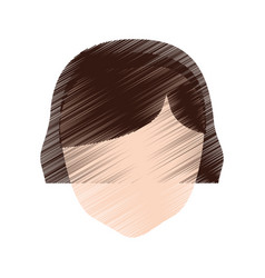 drawing head girl faceless hairstyle vector image