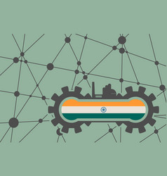 Flag of the india build in gear vector