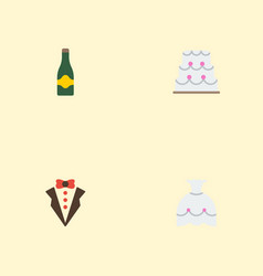 flat icons patisserie fizz wedding gown and vector image vector image