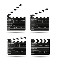 movie clapper board black open clapperboard vector image