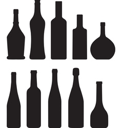 silhouette of bottles vector image