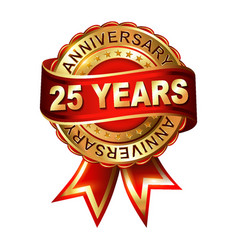 25 years anniversary golden label with ribbon vector image vector image