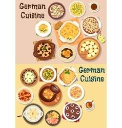 German cuisine dinner icon set for menu design vector image vector image