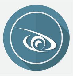 icon eye on white circle with a long shadow vector image vector image