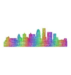 Louisville skyline - multicolor line art vector image