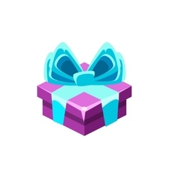 Purple gift box with blue bow with present vector