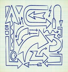 set of arrow doodle vector image