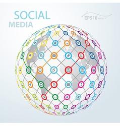 social media element icon globe worldwide vector image vector image