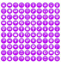 100 media icons set purple vector