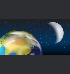 A space view of earth and moon vector