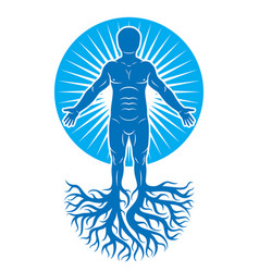 Art of human being made using tree roots eco vector