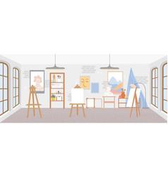 Artist workshop or art studio classroom interior vector