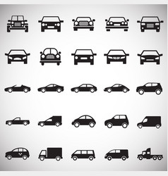 automobile icons set on white background for vector image