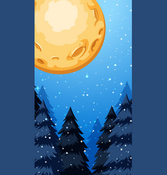 Background scene with fullmoon in winter vector
