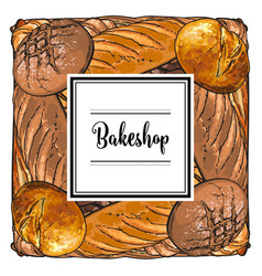 bakeshop brand logo with loafs of bread vector image