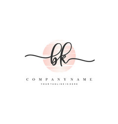 Bk initial handwriting logo vector