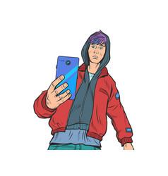 Boy teenager with smartphone vector