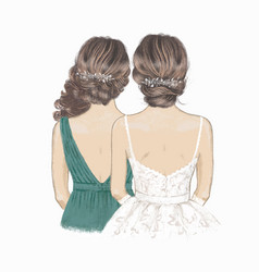 Bride and bridesmaid with curly hair sister vector