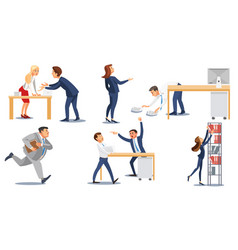 business people in stress at work flat set vector image