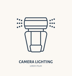 camera lighting flash flat line icon photography vector image