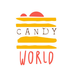 Candy world logo colorful hand drawn label vector