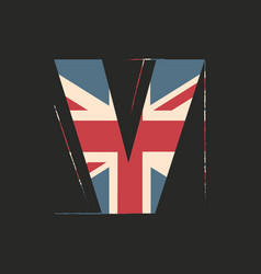Capital 3d letter v with uk flag texture isolated vector
