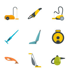 carpet sweeper icon set flat style vector image