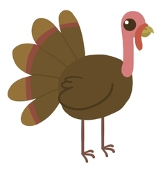 Cartoon funny turkey flat mascot icon vector image