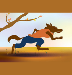 Cartoon running wolf flat colors vector