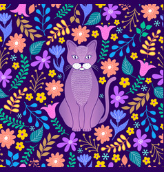 Cat and tropical flowers vector
