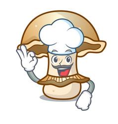 Chef portobello mushroom character cartoon vector