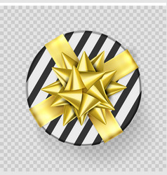 christmas gift box present golden ribbon bow vector image
